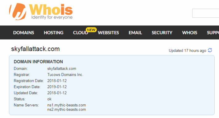 Skyfallattack.com 在一星期前才註册。