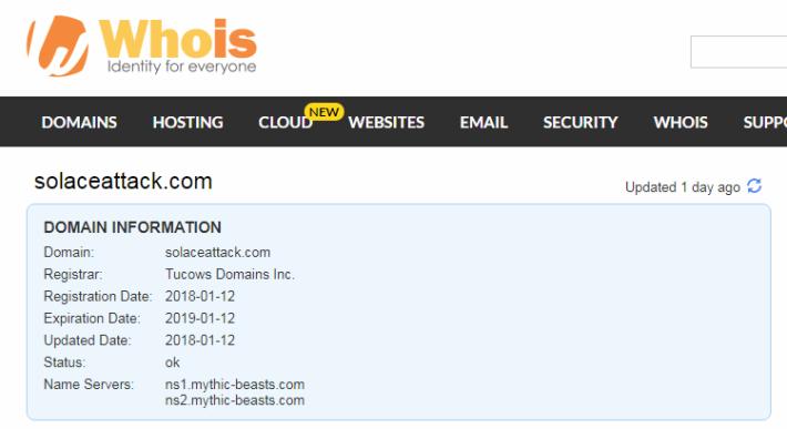 Solaceattack.com 亦在同日註册。