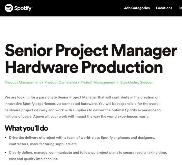 Spotify 在官方招聘網頁貼出聘請有關硬件生產的高級項目經理