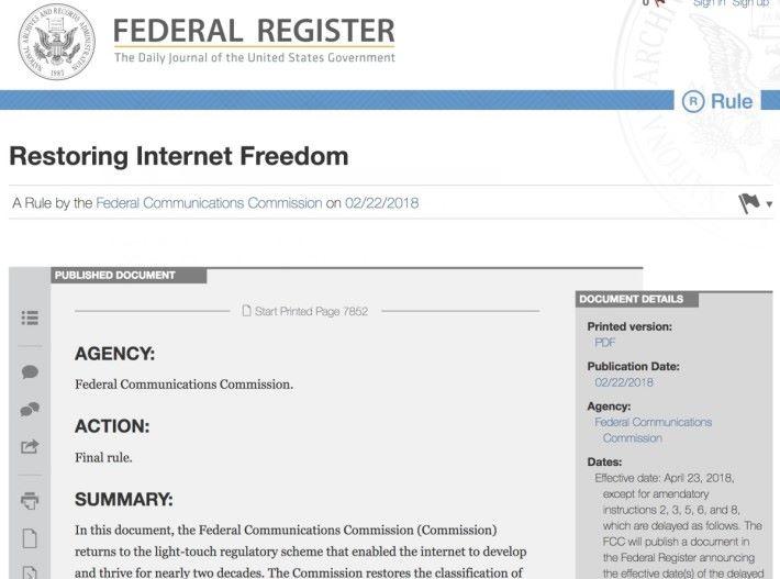 FCC 正式將撤銷網絡中立規定的法令刊於美國聯邦公報