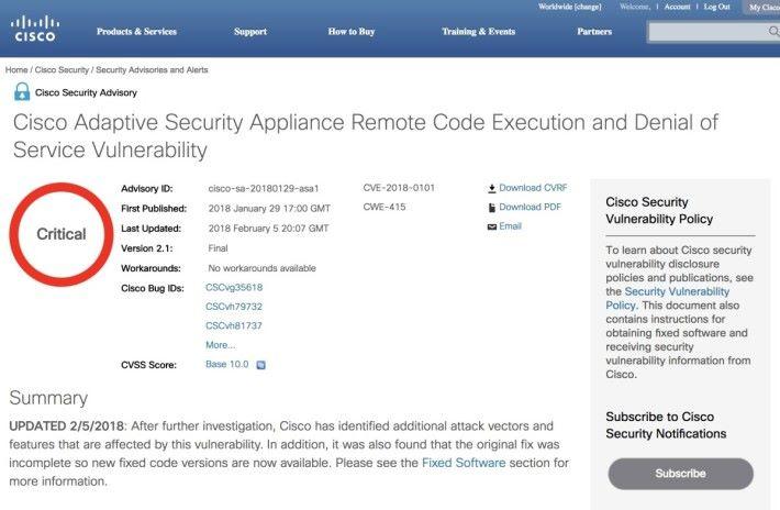Cisco 經深入調查後,發現新的入侵路徑。於是在當地時間 2 月 5 日發布修正版更新。