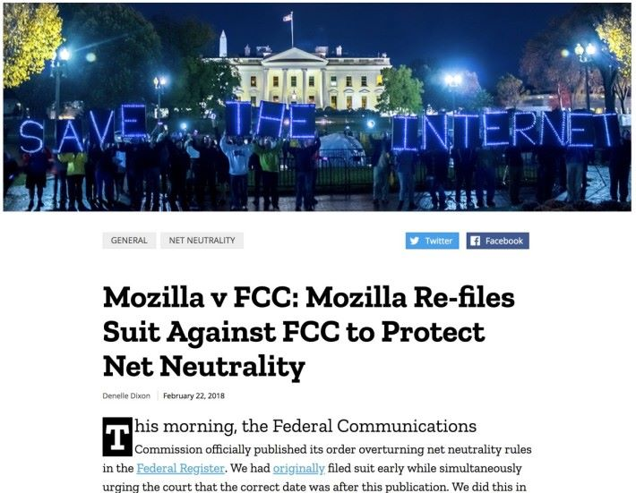 制訂不少互聯絡標準的 Mozilla 表明會提出起訴,他們表示確保互聯絡是全球公共資源、向所有人開放是他們的使命。