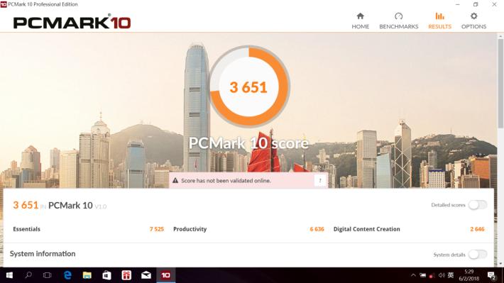 PCMark 10 跑出 3,600 多分,發揮 Core i7-8550U 機種的應有水平。