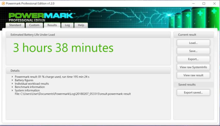 Powermark Balanced Benchmark 跑出不到 4 小時續航力,表現中規中矩。
