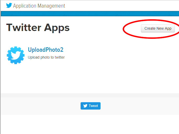 Step 3: 建立一個 Twitter 的應用程式。登入 Twitter Apps 網站,然後按下按鈕「 Create New App 」。 Twitter Apps 網址: https://apps.twitter.com
