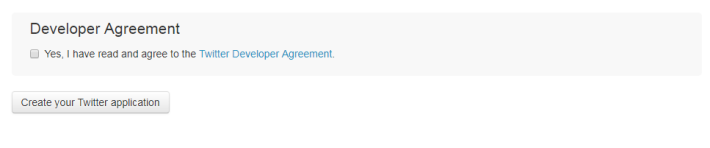 Step 5: 完成後便可以按下按鈕「 Create your Twitter application 」。