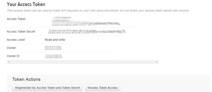 Step 8: 接著就會產生「 access_ token 」及「 access_token_secret 」。