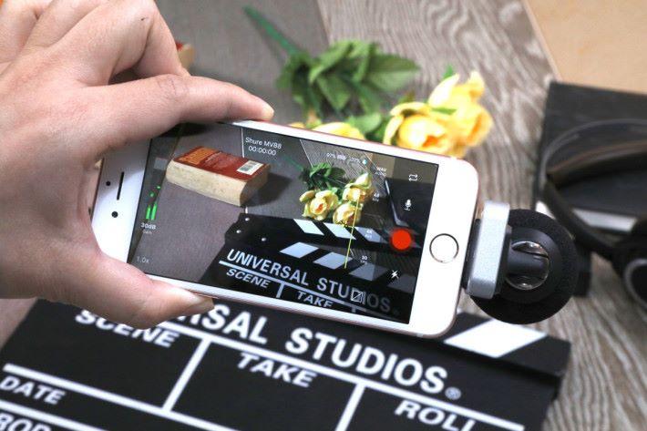 MOTIV MV88 配合 Shure Plus MOTIV Video app 錄片收音更清晰。