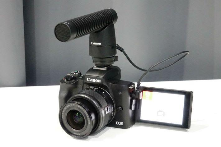 Canon M50 屏幕以側揭式設計,使用收音咪亦無礙顯示。