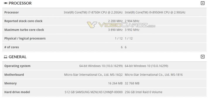 3DMark 網站出現了一部型號不明的 MSI Notebook,採用 Intel i9-8950HK CPU。