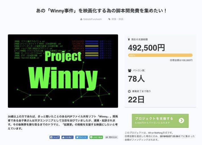 有網絡企業社長發起眾籌,打算將 Winny 事件搬上銀幕。