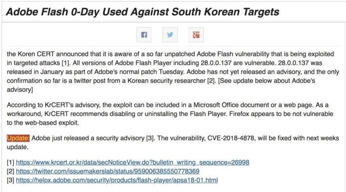 美國的保安機構 SANS 通告指這次零日攻擊針對南韓目標