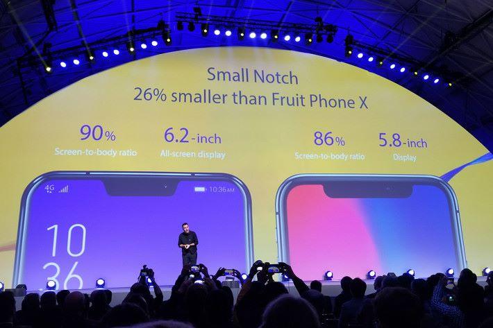 瀏海設計更同 iPhone X 正面比較,相比下面積細 26%。