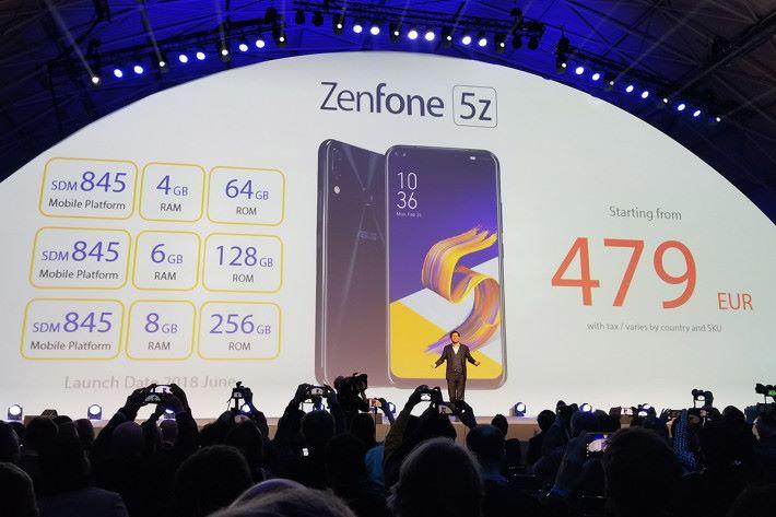 ZenFone 5Z 定價由 479 歐元起。