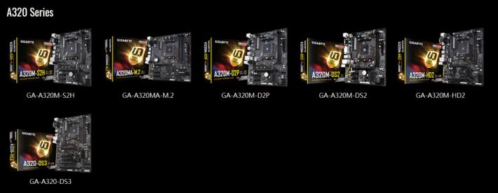 Gigabyte A320 系列支援列表。(可按圖放大下載。)