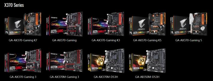 Gigabyte X370 系列支援列表。(可按圖放大下載。)