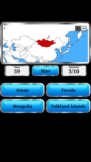 遊戲中,玩家要由地形、位置估出正確國家。
