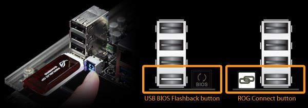 按 USB BIOS Flashback 鍵或 ROG Connect 鍵 3 秒。