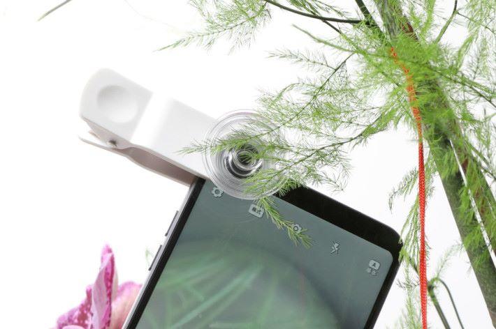 顯微鏡可夾到手機前鏡頭或後鏡頭使用。