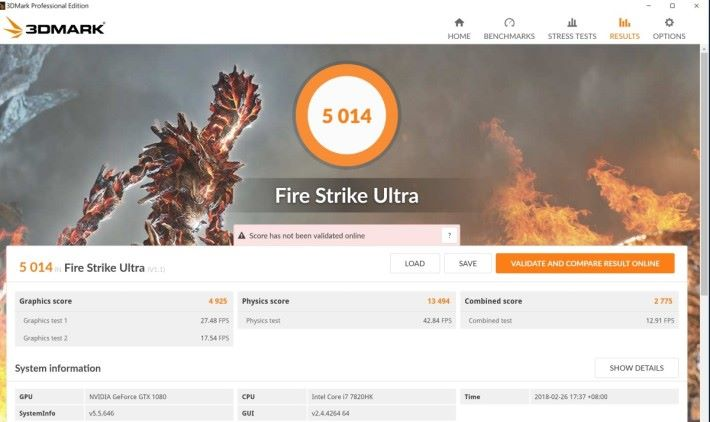 Fire Strike Ultra 於極速模式分數並沒有明顯再提高,但輕易於 4K 玩盡最新遊戲。