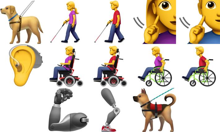 提案中的 13 個有關殘障人士的表情圖像,涵蓋視障、聽障、肢體障礙及隱性殘障 4 大範疇。
