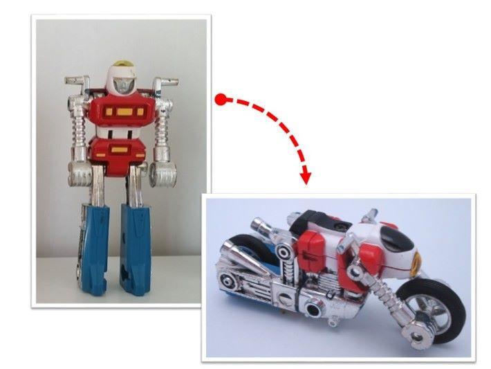 其中一款電單車機械人變形就透過模仿一個人兩手撐地跪下的姿勢,手持和腳夾輪胎,再套用電單車的外形設計,就成了另一件變形玩具。