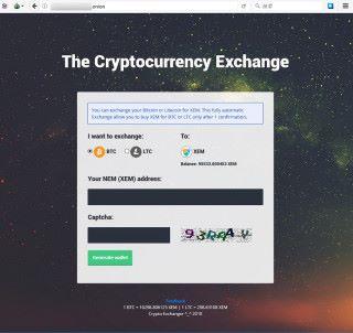 賊人在 Dark Web 上開設網站進行 NEM 交易