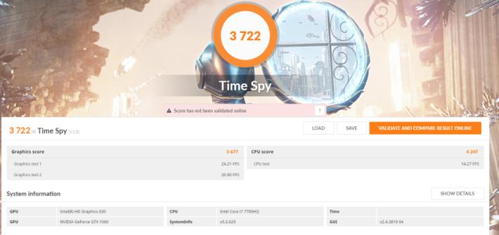 3DMark Time Spy 跑出 3722 分,分數達 Notebook GTX 1060 標準。