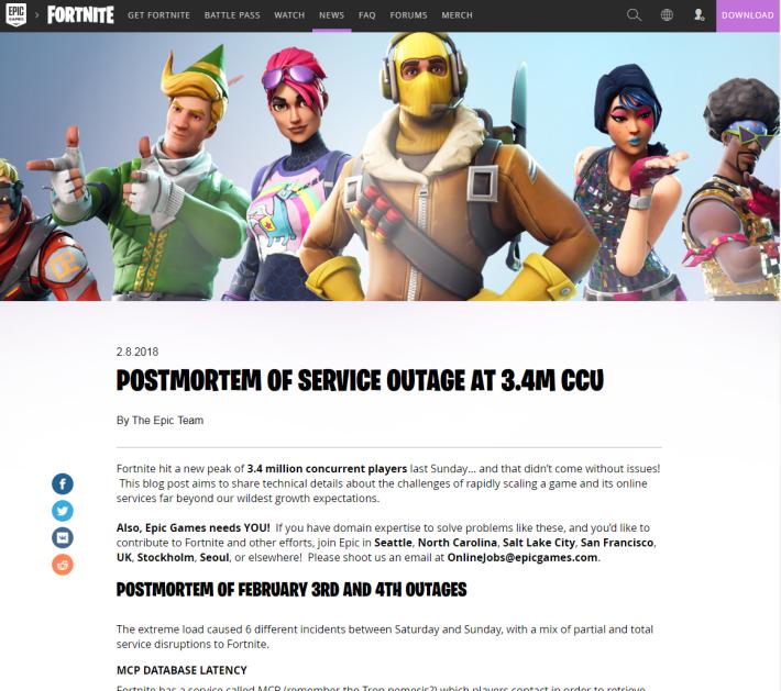 10 月初推出的《 Fortnite : Battle Royale 》在 2 月初已經達成 340 萬人同時遊玩的記錄