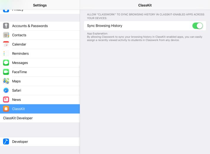 iPad 「設定」裡「 ClassKit 」的老師設定畫面,老師可以分派「活動」給學生。