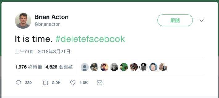 前 WhatsApp 的創辨人 Brian Acton 的帖文更是火上加油