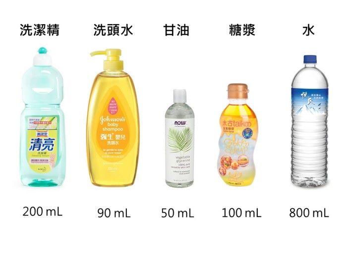 如要在家製作肥皂泡,可以利用洗潔精、洗頭水、甘油、糖漿和水依一定的比例混合便製作出肥皂泡水。