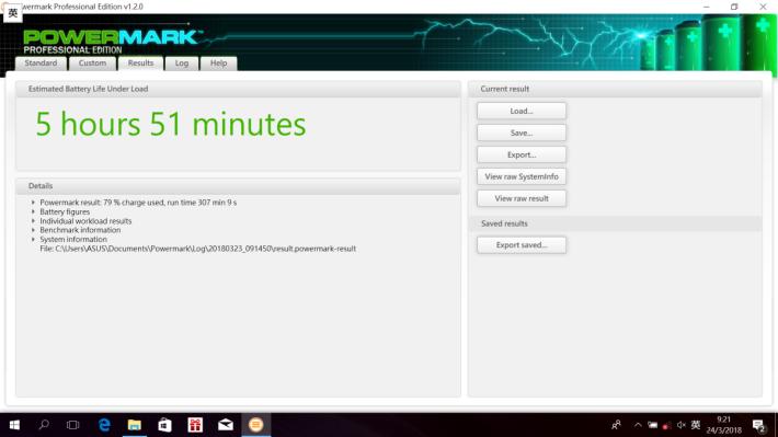 Powermark Balanced Benchmark 測出接近 6 小時續航力,表現不錯。