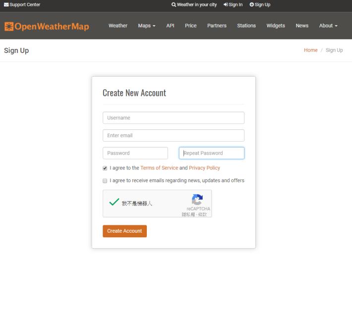 Step 1: 進入 OpenWeatherMap 網站。