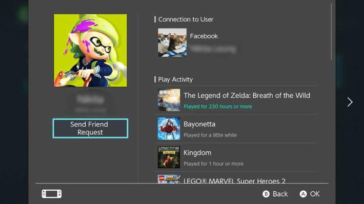 然後點「 Send Friend Request 」即可於 Switch 上申請為好友。