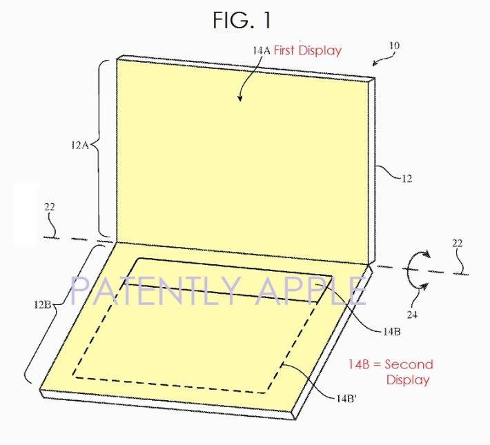 此專利產品看似一部 Notebook,上方為主屏幕,而下方基座的鍵盤及觸控板則被一大塊副屏幕取代。Source:Patently Apple