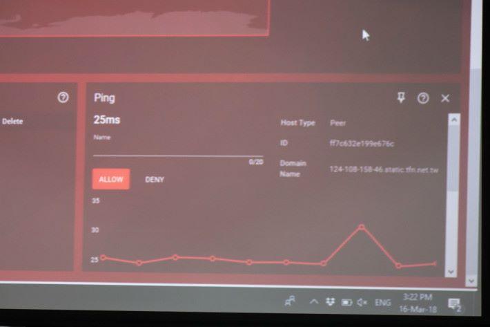 起初未有任何 BT 活動時,Ping 值為 25ms。
