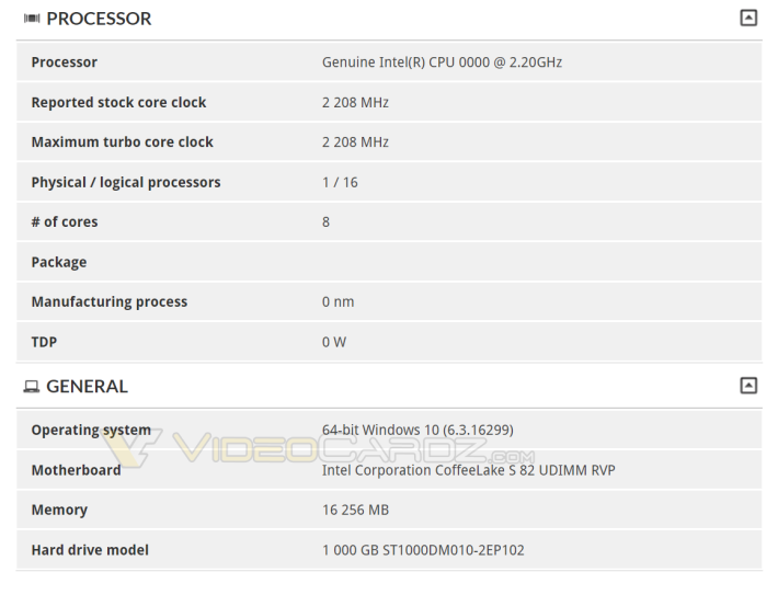 3DMark 資料庫上出現了尚未推出的 Intel 八核心 CPU。Source:Videocardz