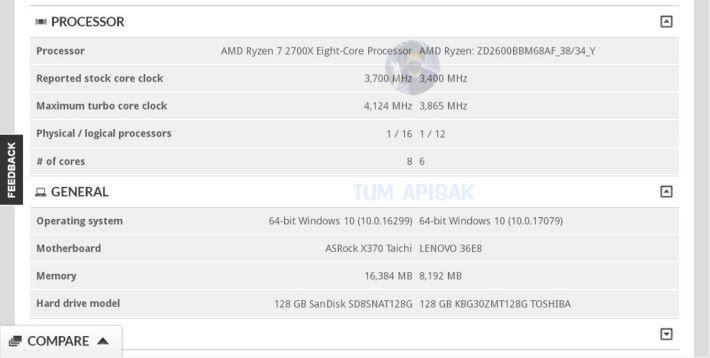 同樣也是 3DMark 數據庫的資料,顯示 Ryzen 7 2700X 的基本時脈會是 3.7GHz。Source:TUM APISAK