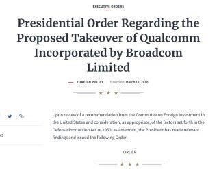 特朗普簽署總統法令禁止 Broadcom 收購 Qualcomm