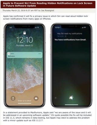 MacRumors 報道收到 Apple 的聲明指將會修正 Siri 洩密的漏洞