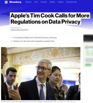 彭博通訊報道 Tim Cook 日前在北京表示有必要加入適當的法例加以監管企業運用用戶個人資料