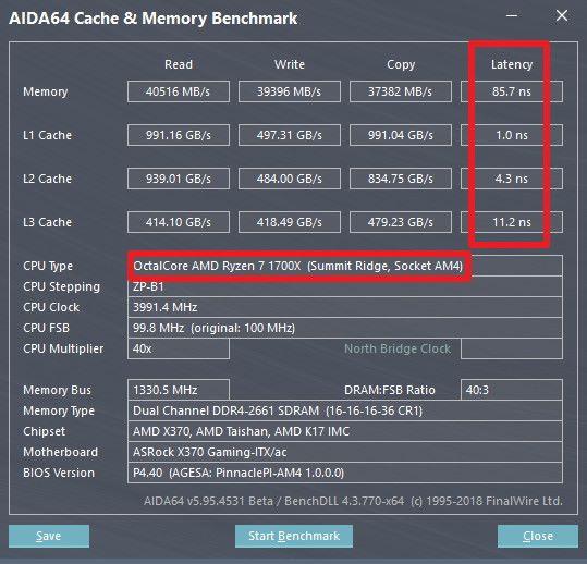 Ryzen 7 1700X 在 AIDA64 的資料。