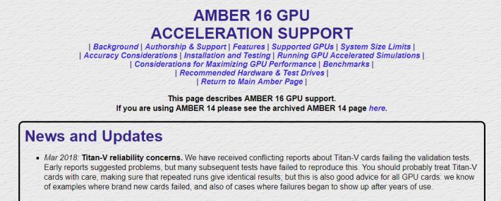 Amber 科學程式於官網提醒用戶使用 TITAN V 運算時,可能會出現錯誤。