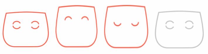 CUJO 可謂最可愛的防火牆,具有不同表情代表不同狀態。由最左面開始說起,目不轉睛地凝視代表偵測到病毒、笑臉代表已連線及安全、傷心樣子代表離線、眨眼則代表正在更新韌體。