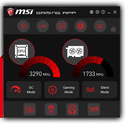不少 MSI 主機板及顯示卡均配備 Gaming App 軟件,可切換至三種模式的顯示卡及 CPU 時脈設定。