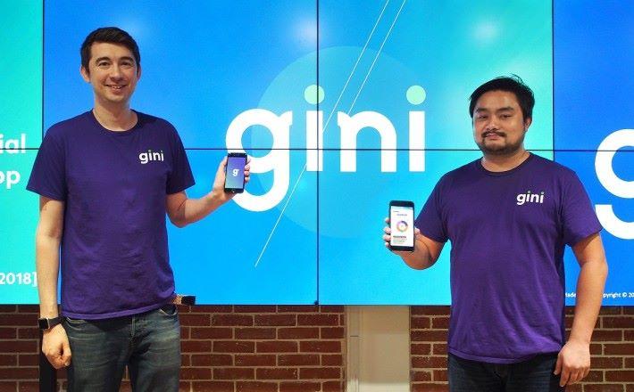 gini 行政總裁兼聯合創辦人Raymond Wyand (左)和首席營運總監兼聯合創辦人梁敬熙介紹他們首款個人理財記帳 App 。