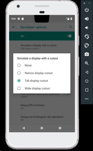 可以透過 Android 模擬器來看看不同瀏海的顯示效果