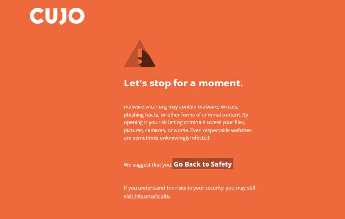 在電腦上測試,Wicar 12 個病毒都能被 CUJO 攔截,令瀏覽器跳至橙色警告畫面。