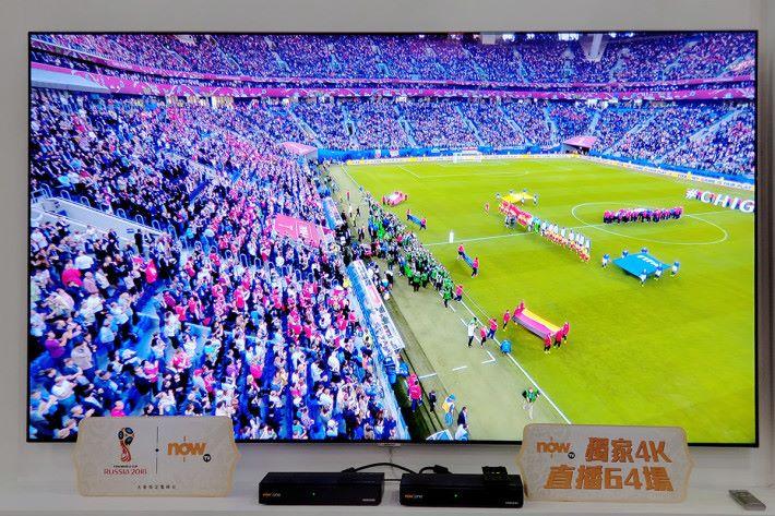 NowTV 為傳媒作技術示範,以4K播放的球賽畫面的確細緻度與立體感兼具,而 50fps 輸出令動態畫面表現得更流暢。